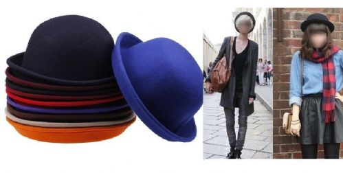 Classic Style Vintage Lady Vogue Women Men Wool Cute Trendy Bowler Derby Hat
